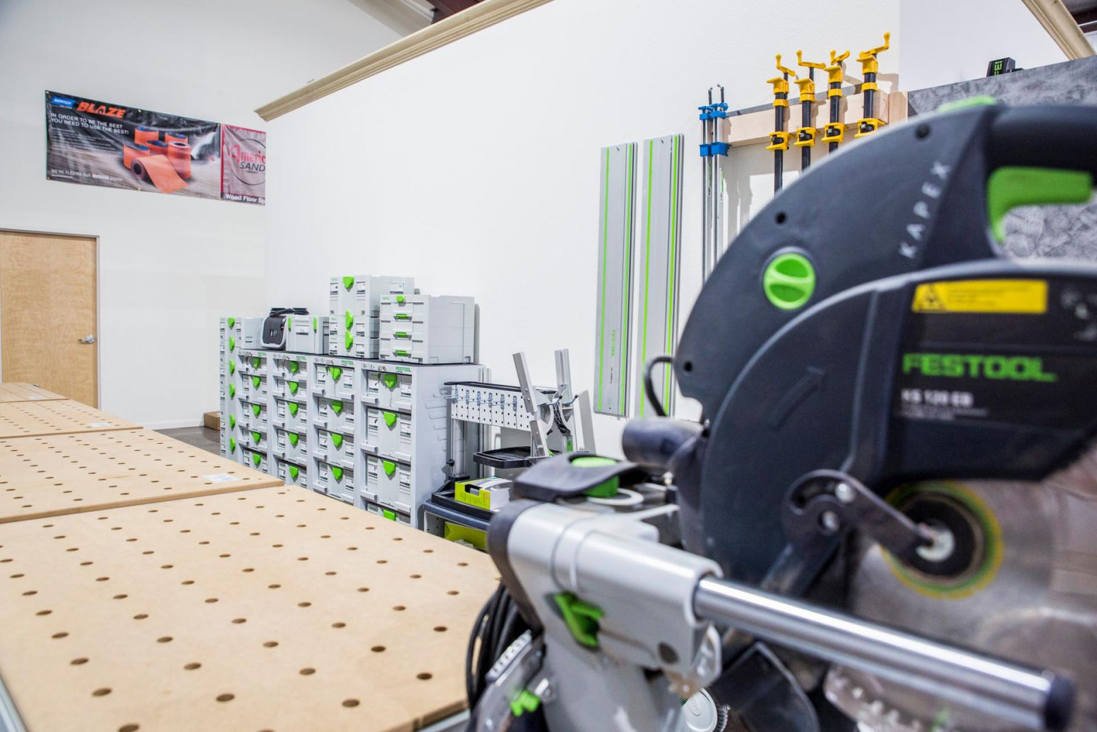 Festool tools in the Rubio Monocoat training facility in Austin, TX
